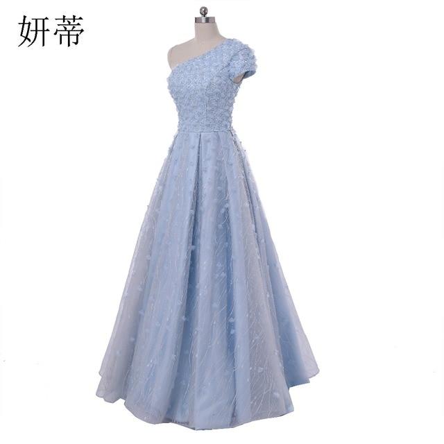 Elegante Light Blue One Schulter Spitze A Line Abendkleider 2017 ...