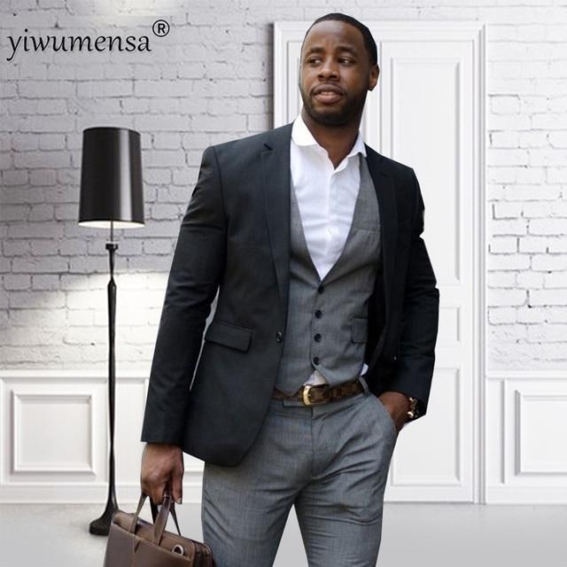 Yiwumensa Black Jacket Grey Men Suits Terno Slim Fit Skinny Tuxedo