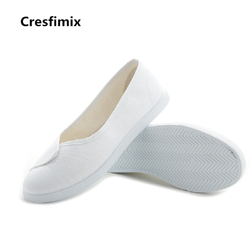 Cresfimix women cute solid spring & summer slip on nurse shoes female casual white work loafers female comfortable shoes zapatos cresfimix women cute soft pu leather lace up spring flat shoes female casual dark brown summer loafers lady comfortable shoes