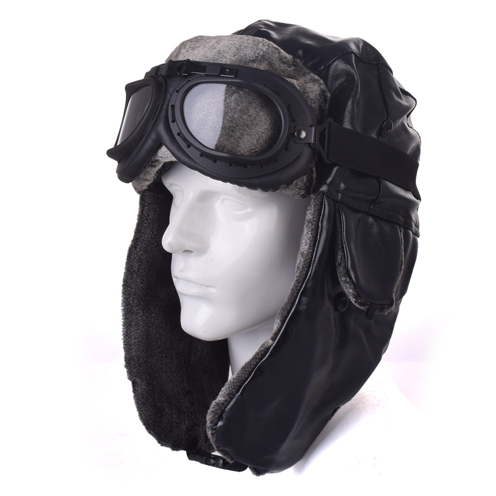 PU Leather Army Pilot Moto Motorcycle Biker Retro Vintage Face Mask Bomber hat Optional Goggles Chopper