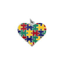 Autism Colored Heart Puzzle Piece Charms