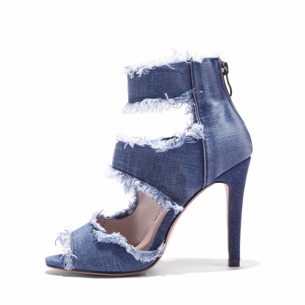 S. โรแมนติกผู้หญิง Plus ขนาด 34 43 แฟชั่นฤดูร้อน Zip รองเท้าส้นสูงปั๊มสำนักงาน Lady ผู้หญิงรองเท้าสีฟ้า SS986-ใน รองเท้าส้นสูง จาก รองเท้า บน   2