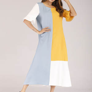 Long-Dress Trumpet-Sleeves Harajuku-Style One-Piece O-Neck Patchwork Casual Women's Woman