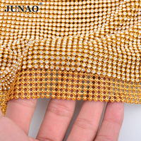 JUNAO 45x120cm Gold Crystal Mesh Clear Glass Rhinestones Fabric Trim Aluminum Base Stones Applique Strass Banding for Bags Dress