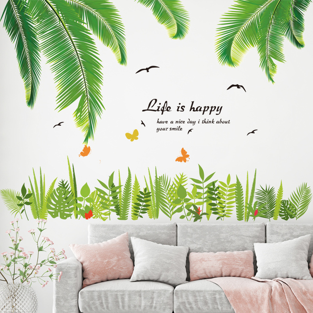 [SHIJUEHEZI] Green Grass Wall Stickers Vinyl DIY Tropical Palm Leaves Mural  Art For Living