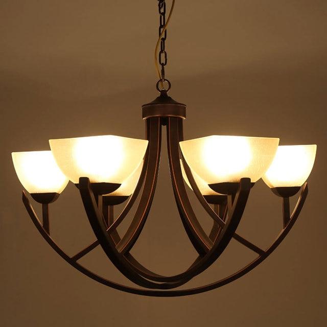 US $135.0 |Vintage Kronleuchter Glas Lampe Decke Lieferanten Wohnzimmer  Flur Treppe Küche Licht Schwarz Eisen Hause Beleuchtung E27 110 240 V in ...