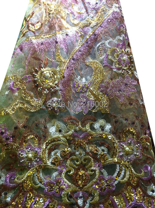 fd74650dbdbb6 African sequins n beads embroidered mesh lace fabric in GREEN, GOLD, PINK,  BLACK. Ladies net lace in 5 colors. 5yds/pc (0236)-in Lace from Home & ...