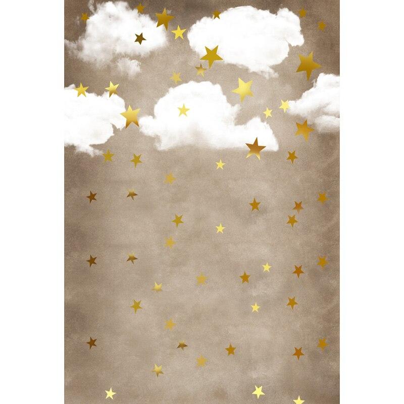 Fondo de fotografía de vinilo estrellas doradas nubes impreso por ordenador lindos niños telones de fondo para estudios fotográficos ZH-148