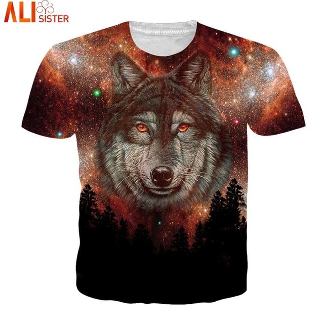 0e865391 Alisister EUR Size 3D T Shirt Galaxy Wolf Summer T-Shirts 2018 Men Women  Camisa Masculina Casual Tops Unisex Pullover Drop Ship