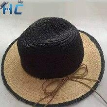 Summer Straw Panama Beach Hats for Women Girls Tea Party Classic Black Girdle Jazz Sun Hat Chapeu Feminino Sombrero Mujer