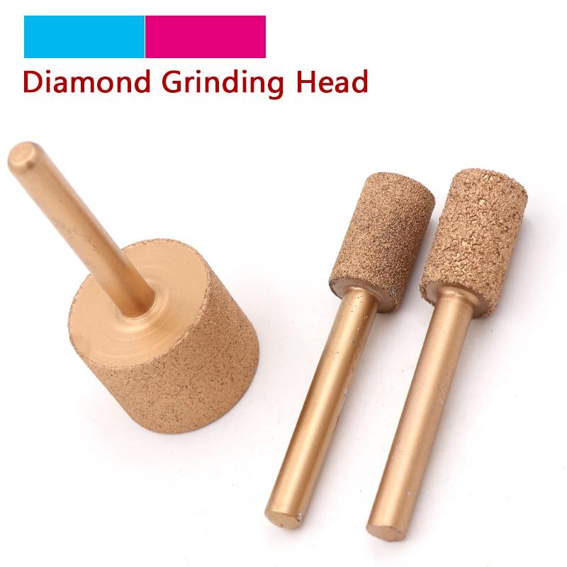 1pcs 6mm Shank Brazed Diamond Grinding Head Burrs Carving Peeling Bits 12mm To 25mm For Jade Stone Concrete Ceramic Diamond Mill