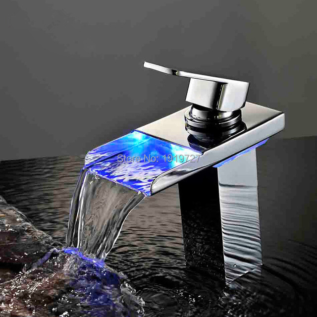 Bathroom Faucet Personality Design Deck Mounted Soild Color Wholesale Led Light Waterfall Faucet Practical Basin Faucet