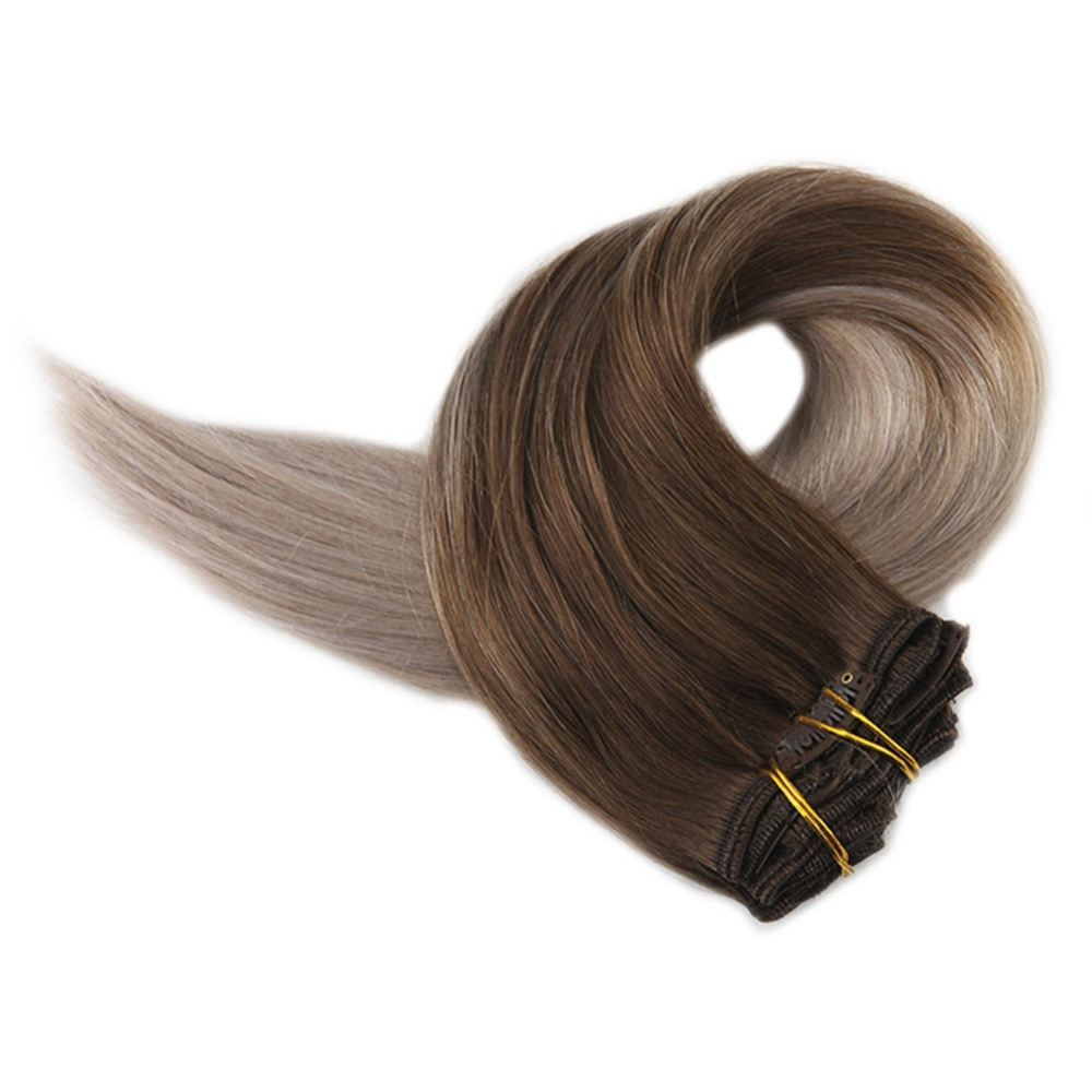 Full Shine Human Hair Extensions Clip In 10Pcs 140g Ombre Color 4 Fading To 18 Blond 100%Machine Remy Clip In Hair Extension