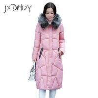 2017 Winter Coat Women Large Fur Collar Hooded Long Jacket Thicken Warm Korean Padded Parkas Oversized Military Parka JX828