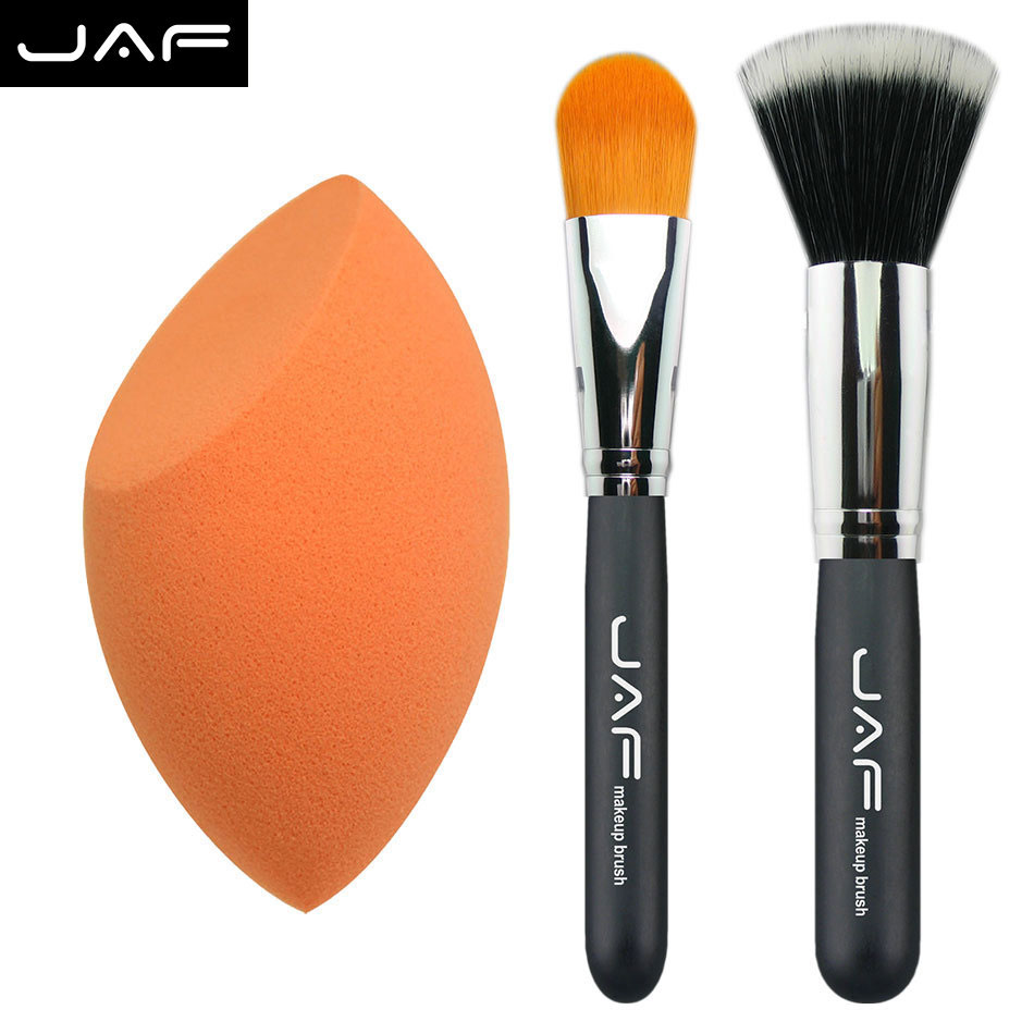 JAF kit Del cepillo Del Maquillaje esponja forma de Huevo puff + Cepillo de Base Profesional cheek blush contour cepillo facial