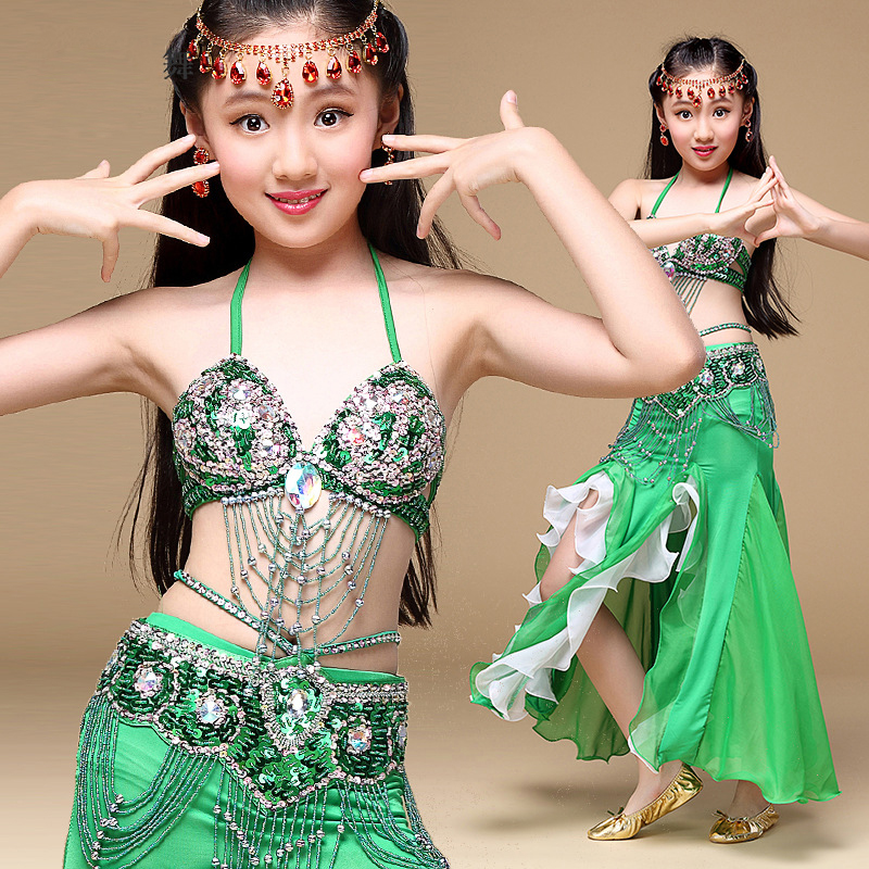 Arabic Full Slit Skirt Belly Dance Costume Dancer Tribal Wave Long Skirt Dress