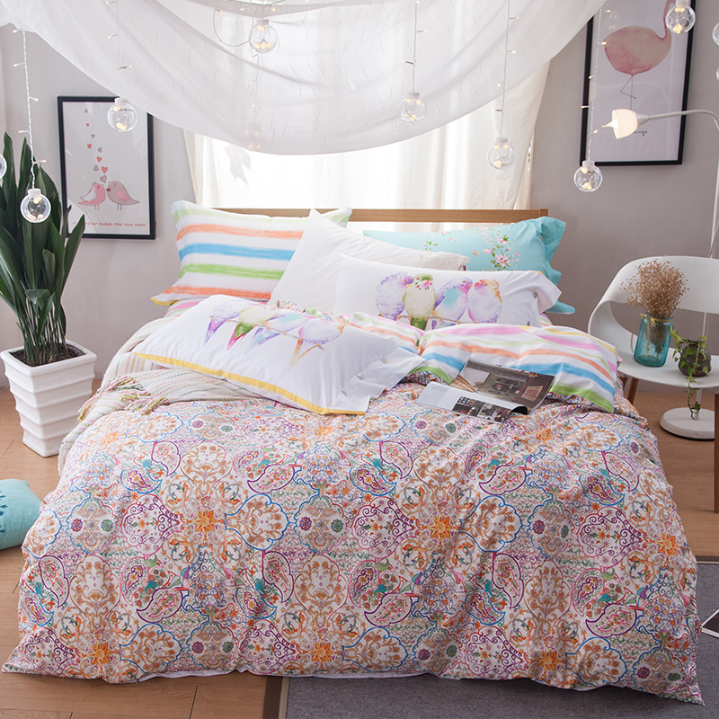 4pcs 100%Cotton Printed 16 styles Pastoral Bedding set Comfortable Duvet Cover set Bedsheet Pillowcases Queen Size bed linen
