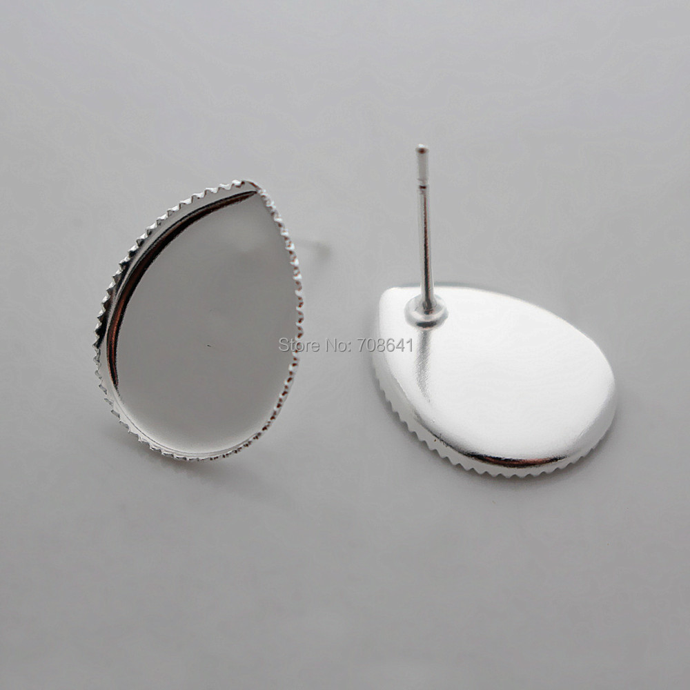 Blank Stud Earrings Bases Findings with Teardrop Bezel Cabochons Settings Pins Earrings post Findings Silver Plated Brass-in Jewelry Findings & Components from Jewelry & Accessories    1