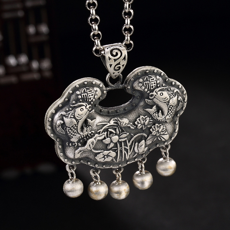 Necklaces & Pendants Pure 990 Silver Fishes And Lotus Blessing Wishful Sterling Silver Antique Pendant Ladies WomenNecklaces & Pendants Pure 990 Silver Fishes And Lotus Blessing Wishful Sterling Silver Antique Pendant Ladies Women