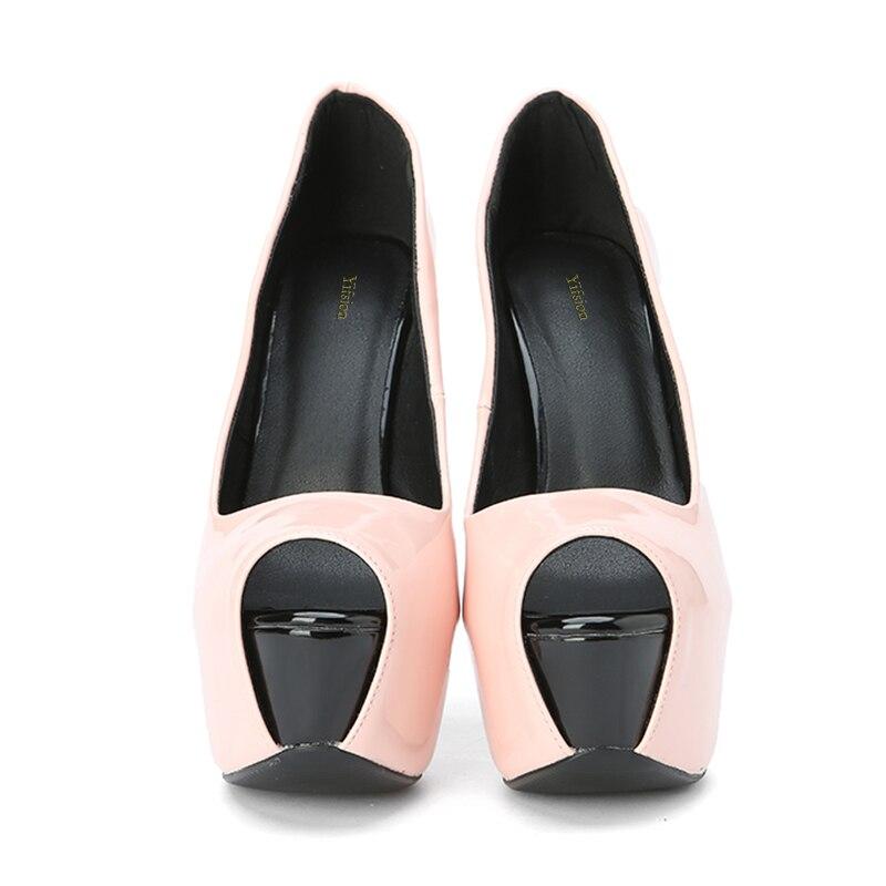 Yifsion Graduación De Sexy Altos Stiletto Preciosa Mujeres Toe Baile Nos Nueva Bombas D0803 15 Zapatos Rosa Plataforma Tamaño Peep Las Tacones Pink 4 Verano EqwETrC