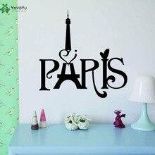YOYOYU Vinyl Wall Decal Paris WordArt Eiffel Tower Interior Home Living Room Can Be Transferred Art Stickers FD081