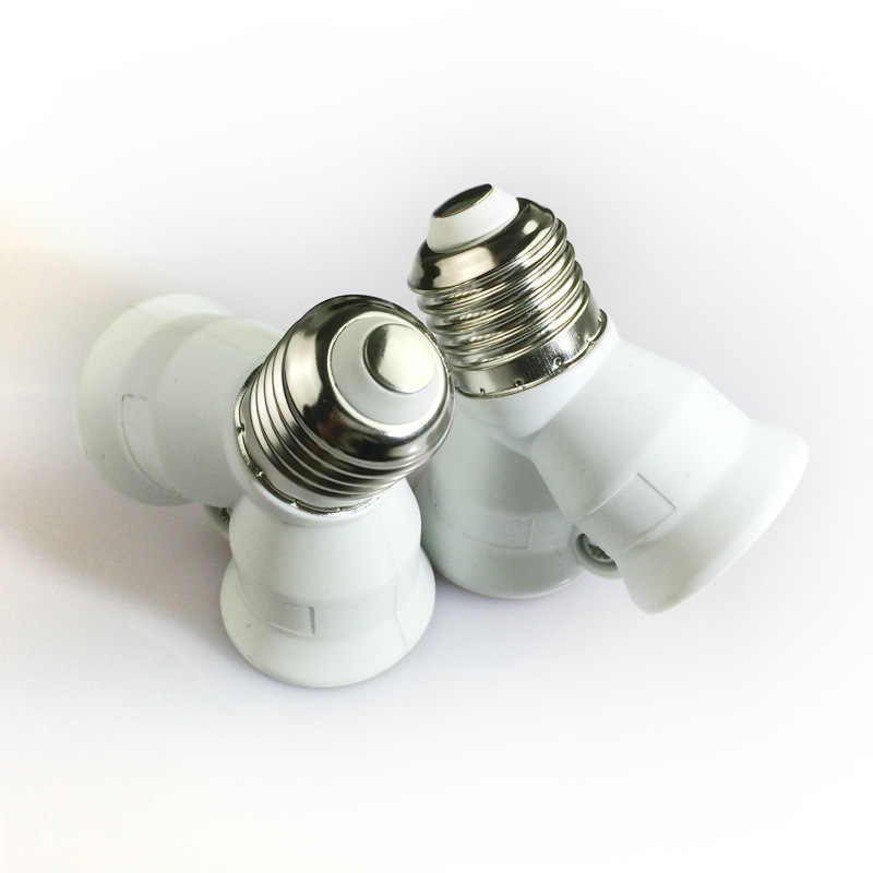 1Pcs Fireproof  E27 to 2 E27 lamp Holder Converter Socket Conversion light Bulb Base type 2E27 Y Shape Adapter For led Lamp