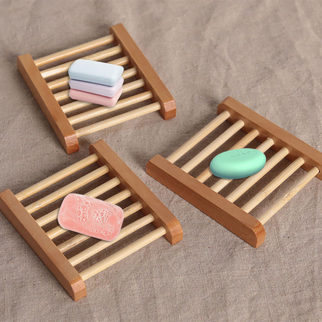 Natural Wood Soap Tray Holder Dish Storage Bath Shower Plate Home ...