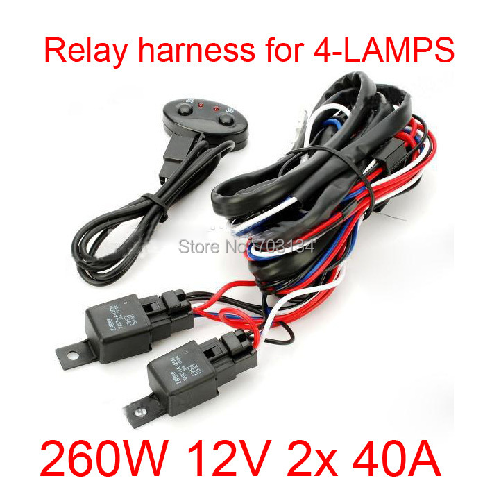 aliexpress com buy 12v 260w 2x40a dual relay dual fuse car truck aliexpress com buy 12v 260w 2x40a dual relay dual fuse car truck autos wiring cable switch relay harness for hid halogen led light bar for 4 lamps from