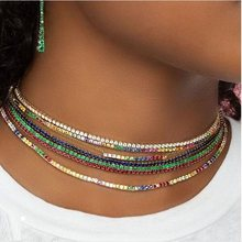 thin cz tennis chain necklace layer women choker various colors colorful cz Gold color trendy necklace for women(China)