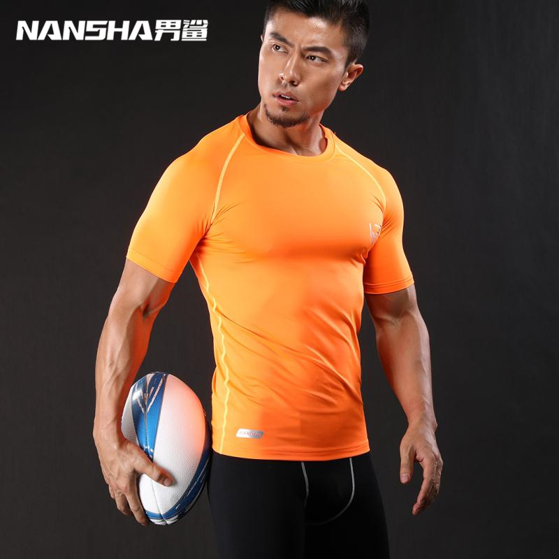 NANSHA Mens Fitness Short Sleeves   T     Shirt   Men Bodybuilding Skin Tight Thermal Compression   Shirts   MMA Crossfit Workout Top Gear