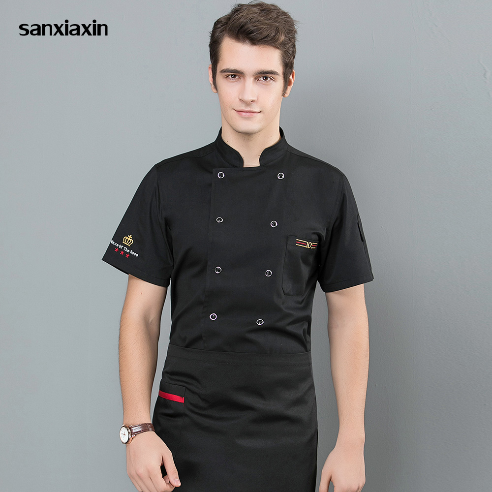 Double-breasted Food Service Chef Uniform Hotel Catering Kitchen Men Chef Jacket Cooker Work Clothes Restaurant Uniform 4 Colors