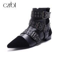 CZRBT Mode Schnalle Frauen Stiefel Spitz Mit Top-qualität kuh Leder Punk Stil Wohnungen Heels 2 cm High Top Ankle schuhe