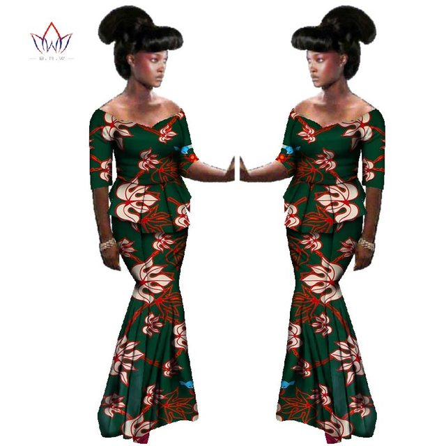 b73817dad94 2019 Summer African traditional Clothing half sleeve african women clothes  Dashiki two piece set natural Plus Size 6xl BRW WY588