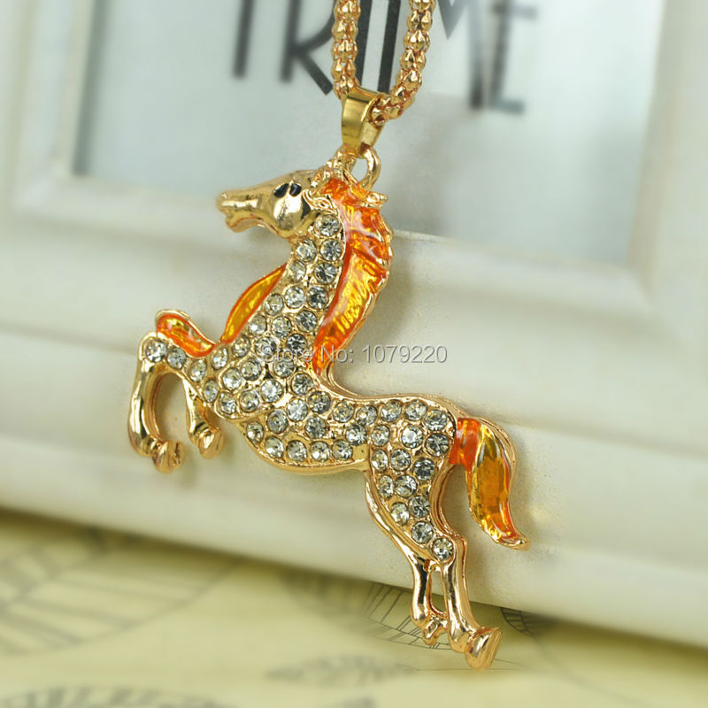 Horse Sweater Necklace Jewelry Crystal For Women Long Necklace Pendants Rhinestone Chain Christma Valentines Gift