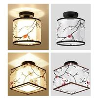 Modern Simple Ceiling Lamp Chinese Traditional Style Ceiling Light New Round Shape Fabric Shade Dining Room Bar Bedroom Lamps S3