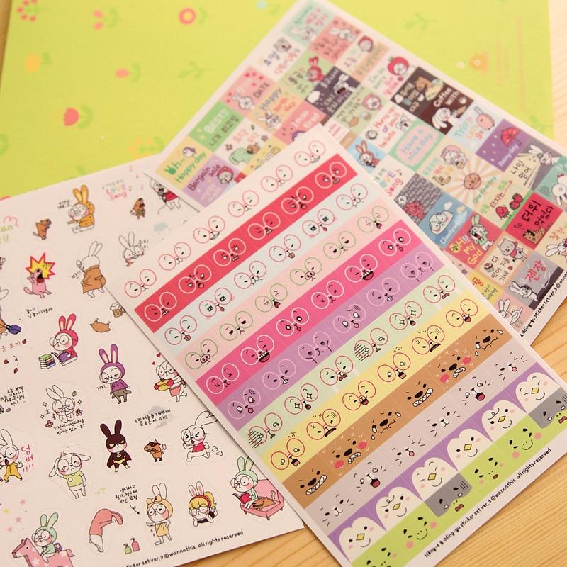 6 Pcs lot Kawaii Cute Phone Stickers Scrapbook Felt Animals Cartoon Decoration Pvc Rabbit Sheet