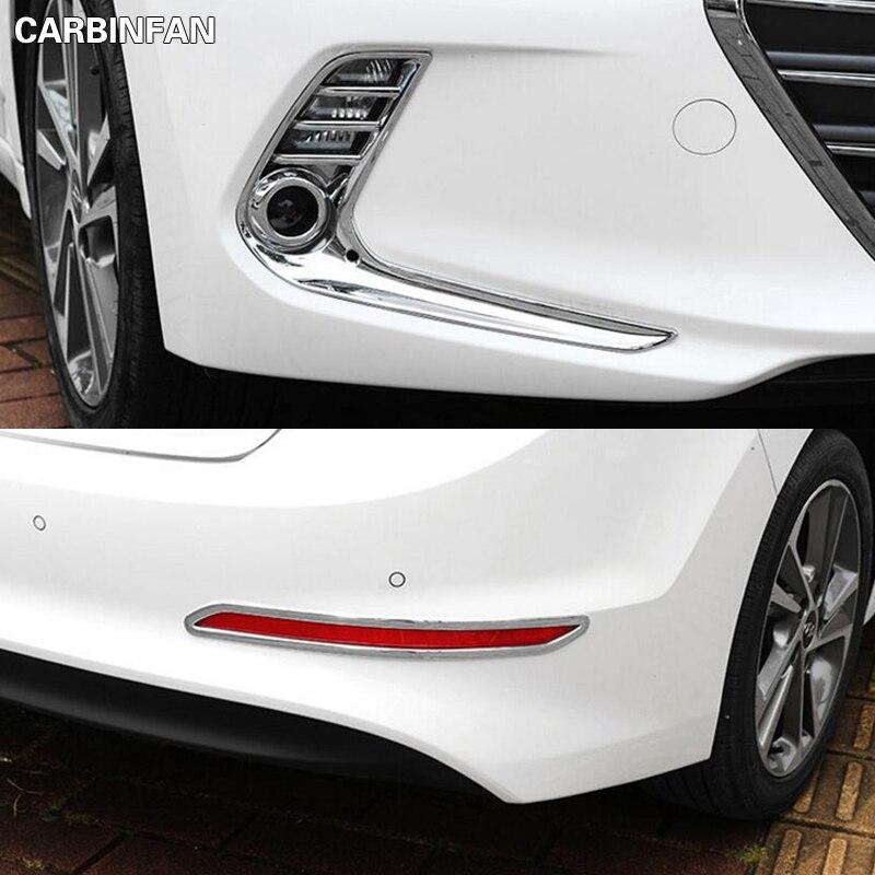 For Hyundai Kona 2017 2019 Chrome Front Fog Light Lamp: Car Styling Front Fog Lights Cover Rear Foglights Trim