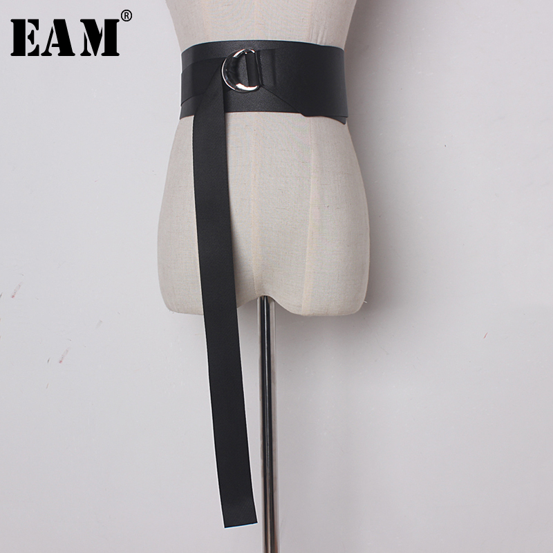 [EAM] 2019 New Spring Metal Ring Solid Color Black PU Leather Wide Long   Belt   Women Fashion Tide All-match JE23601