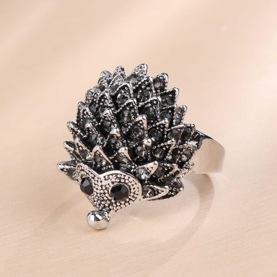 Кинели Горячие под старину серебряный, с животными ювелирные изделия прекрасный кольца в виде Ежика для Для женщин мозаичные Серый Кристалл Вечерние подарки Винтаж ювелирные изделия