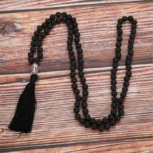 Wholesale Natural Black Volcanic Rocks Beads 108 Mala Knotted Energy Yoga Meditation Strand Necklace Men Women's Sweater Chain(China)