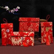 Смешная парча красный Карманный Феникс Дракон узор ткань Нефритовая плита с бахромой красные конверты китайский год свадьба подарки невесты