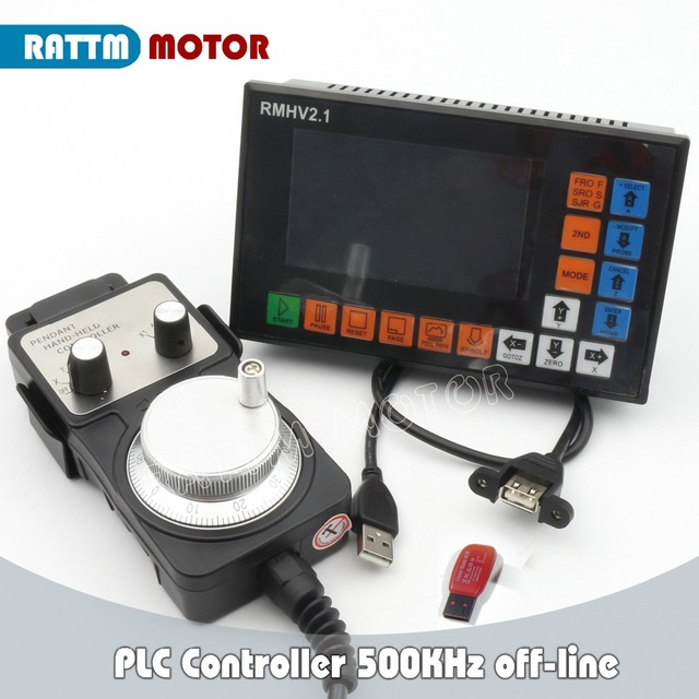 4 Axis PLC Controller 500KHz off-line & Pendant Handwheel &Emergency Stop for CNC Router Engraving Milling Machine stepper motor