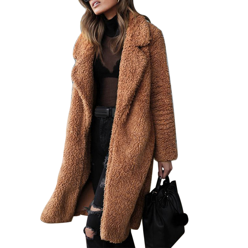 2018 Winter Thick Warm Hairy Women Open Stitch   Trench   Coats Long Sleeve Female Turn-Down Collar Overcoat Manteau Femme