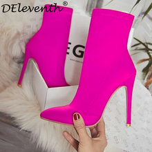 DEleventh INS Hot EGO Carson Pointed Toe Stilettos High Heel Shoes Woman Boots Mixed Color Carda Elsie Bootie Chesta Red Black