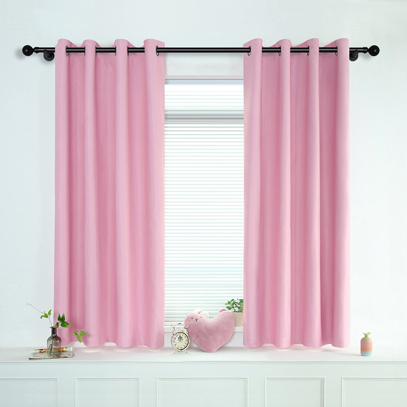 2019 new Korean solid color short blackout curtains for bedroom living room modern and simple curtains for kitchen balcony in Curtains from Home Garden