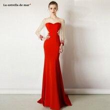Arabische abendkleider lang nouvelle dentelle cristal à manches longues rouge sexy sirène turc robes de soirée traînant robe de soirée longue