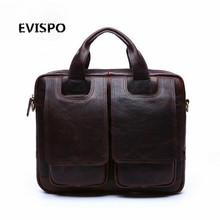 2017 100% Genuine Leather Men Bag Men Messenger Bags Vintage Business Briefcases Laptop Bags Men's Leather Laptop Bag EVISPO