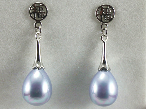 Gros chinois 12 * 16 mm violet clair waterdrop shell pearl silver plaqu fu chanceux boucles doreilles mode jewelry002
