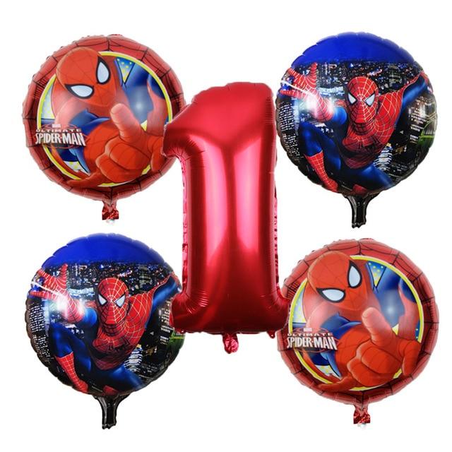 O Envio gratuito de 5 pçs/lote Spiderman Foil Balão Balão de Hélio Decorações Da Festa de Aniversário Brinquedos Para Crianças Número Vermelho Atacado