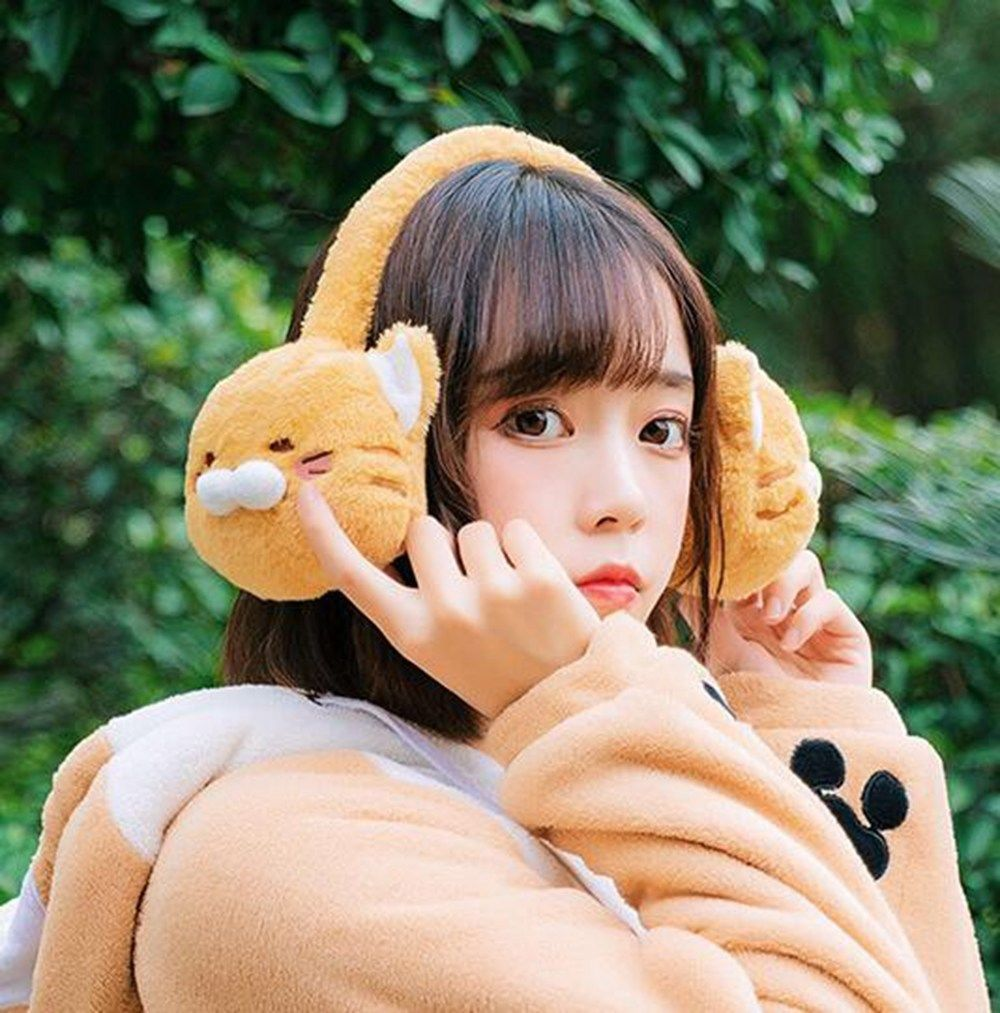 Cute Girls Winter Animal Style Cat Pattern Warm Plush Earmuff Christmas Gifts